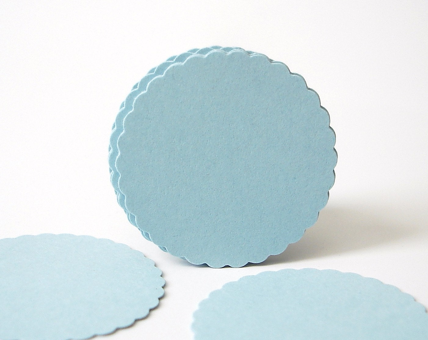 "50 Light Blue Scalloped Circles punch die cut scrapbook embellishments - 1"" circles - No835 - BelowBlink"