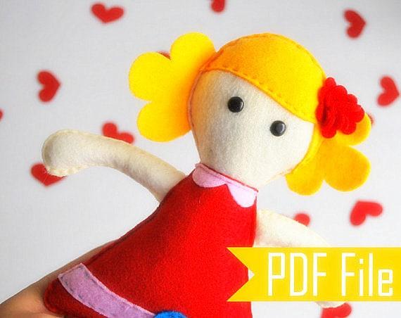 Molly Rag Doll PDF Sewing Pattern - Softie Rag Doll Toy A493