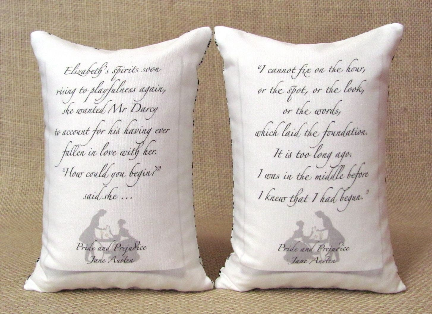 Pride and Prejudice - Elizabeth and Darcy In Love Bookends - Shelf Pillows