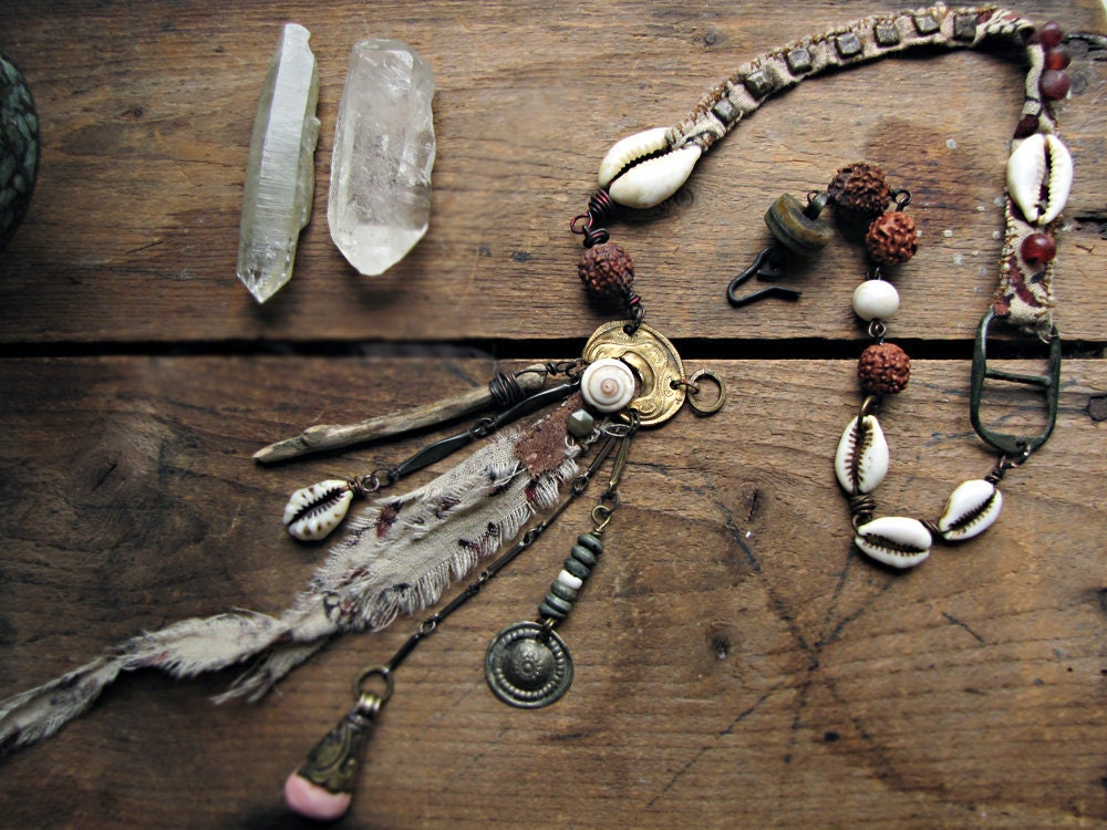tribe of one - artisan necklace - reclaimed cotton textile - tribal objects - cluster charm