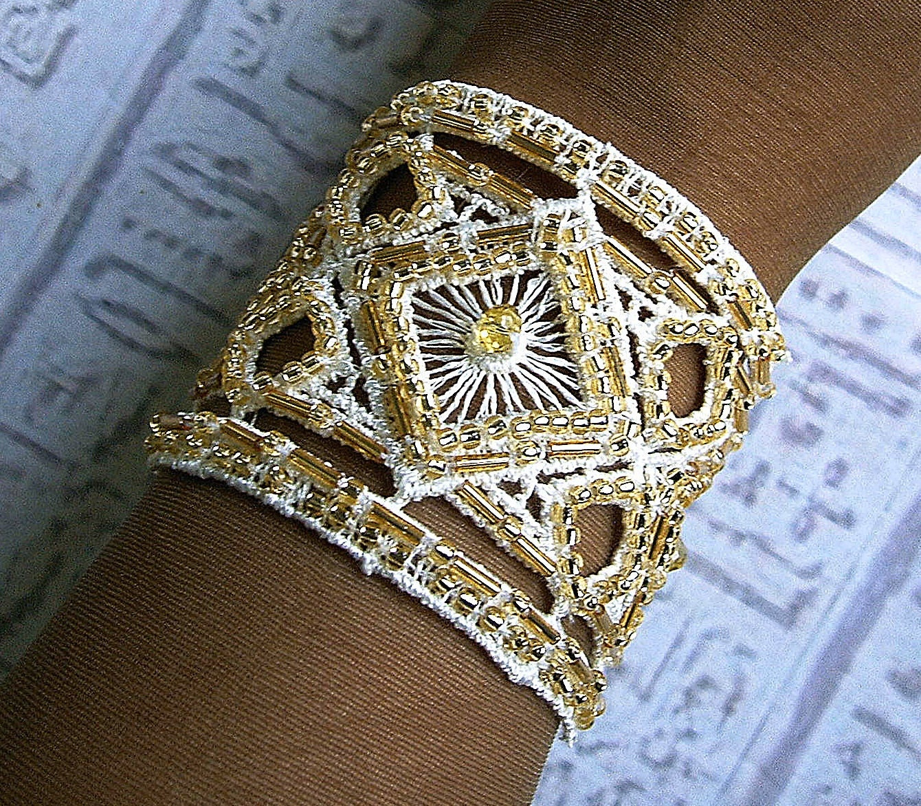 Wedding jewelry. Bridal Cuff bracelet in Ivory and gold. Hand embroidered. - EgyptianInspirations