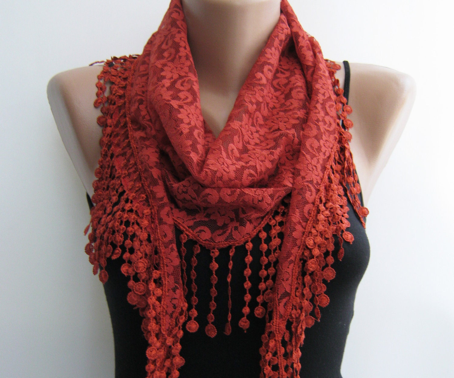 Lace scarf, dark orange summer scarf - sascarves