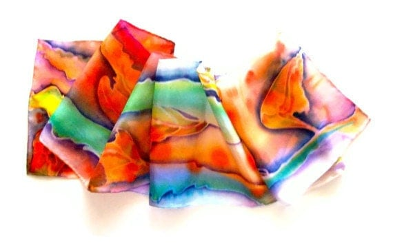 Silk Scarf Hand Painted Multicolor Leaves - SilkMari
