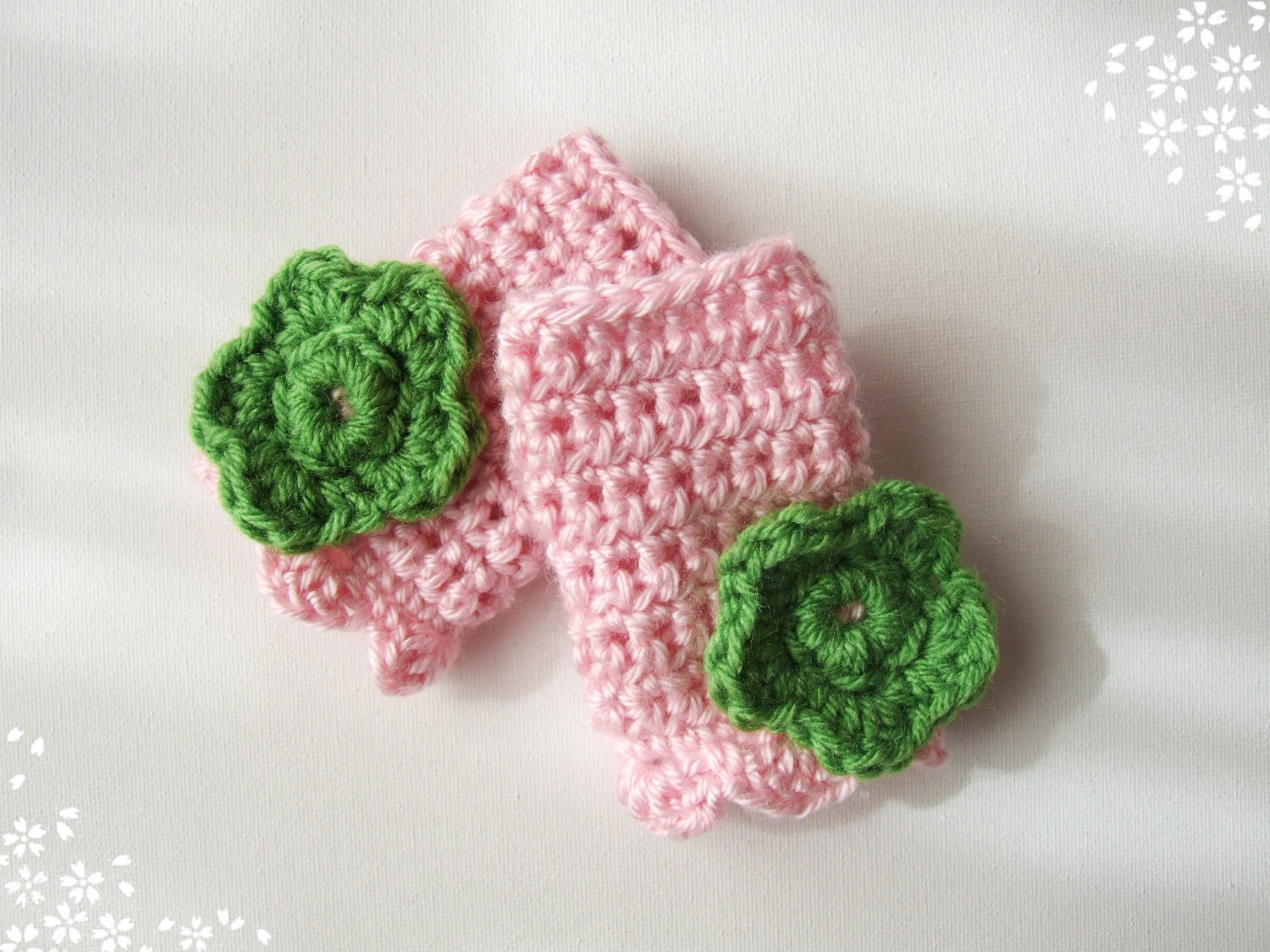 Crochet Fingerless Gloves Children's Spring Flower Preppy Pink and Green - KingSoleil