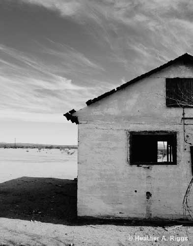 Abandoned House, Desert, sky, clouds, empty, black and white, Photograph, 8x10
