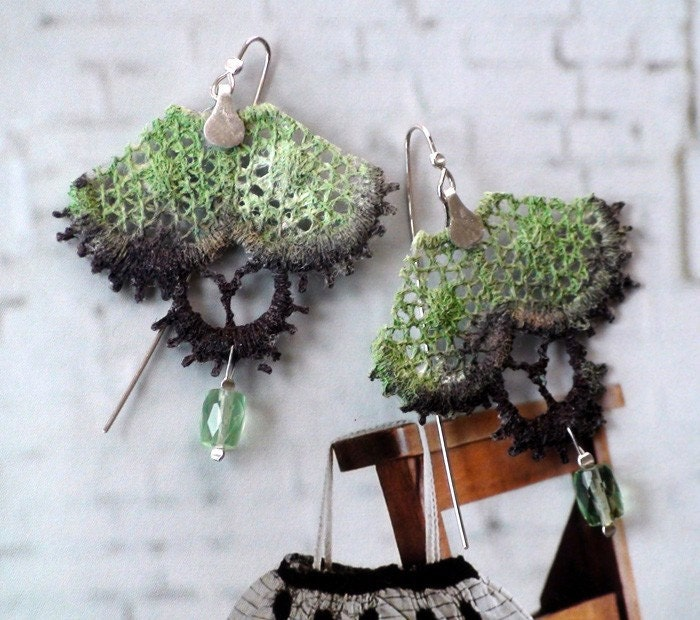 Vintage Lace Earrings sterling silver fluorite stone green brown gemstone artisan romantic style multicolor design handmade free shipping - modesign