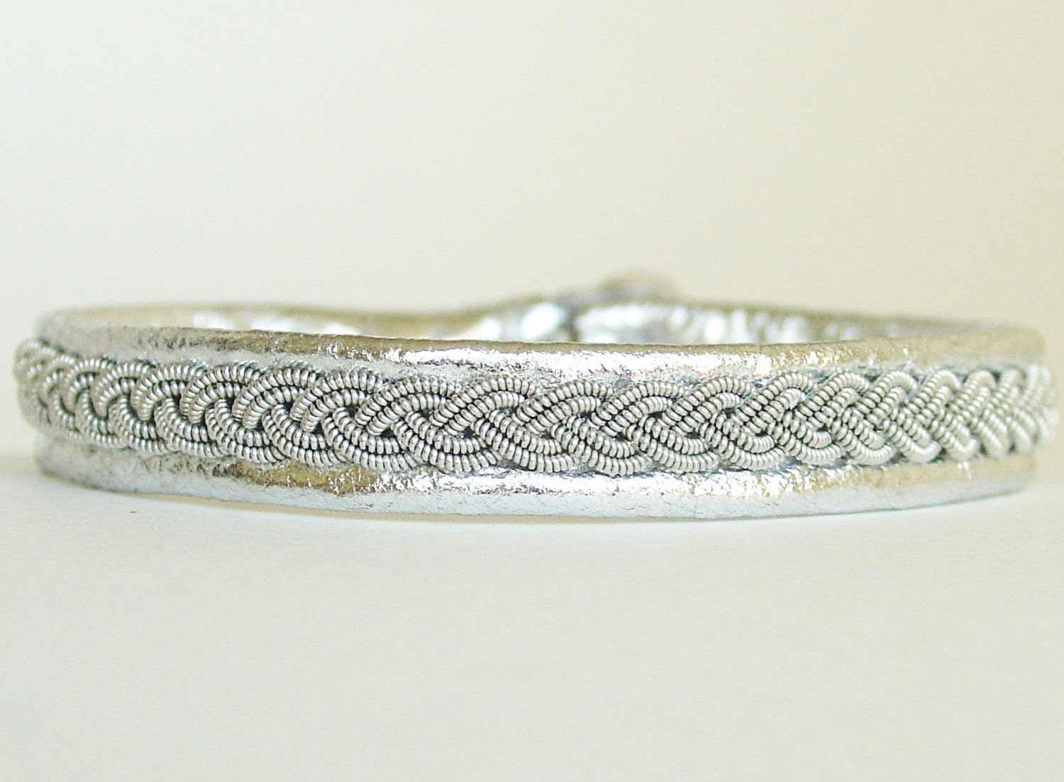 NEW Silver Lambskin Lapland Bracelet, Antler Button, Pewter and Silver Braid, WOMEN'S LARGE, 3/8 Inch Wide, B12 Sami