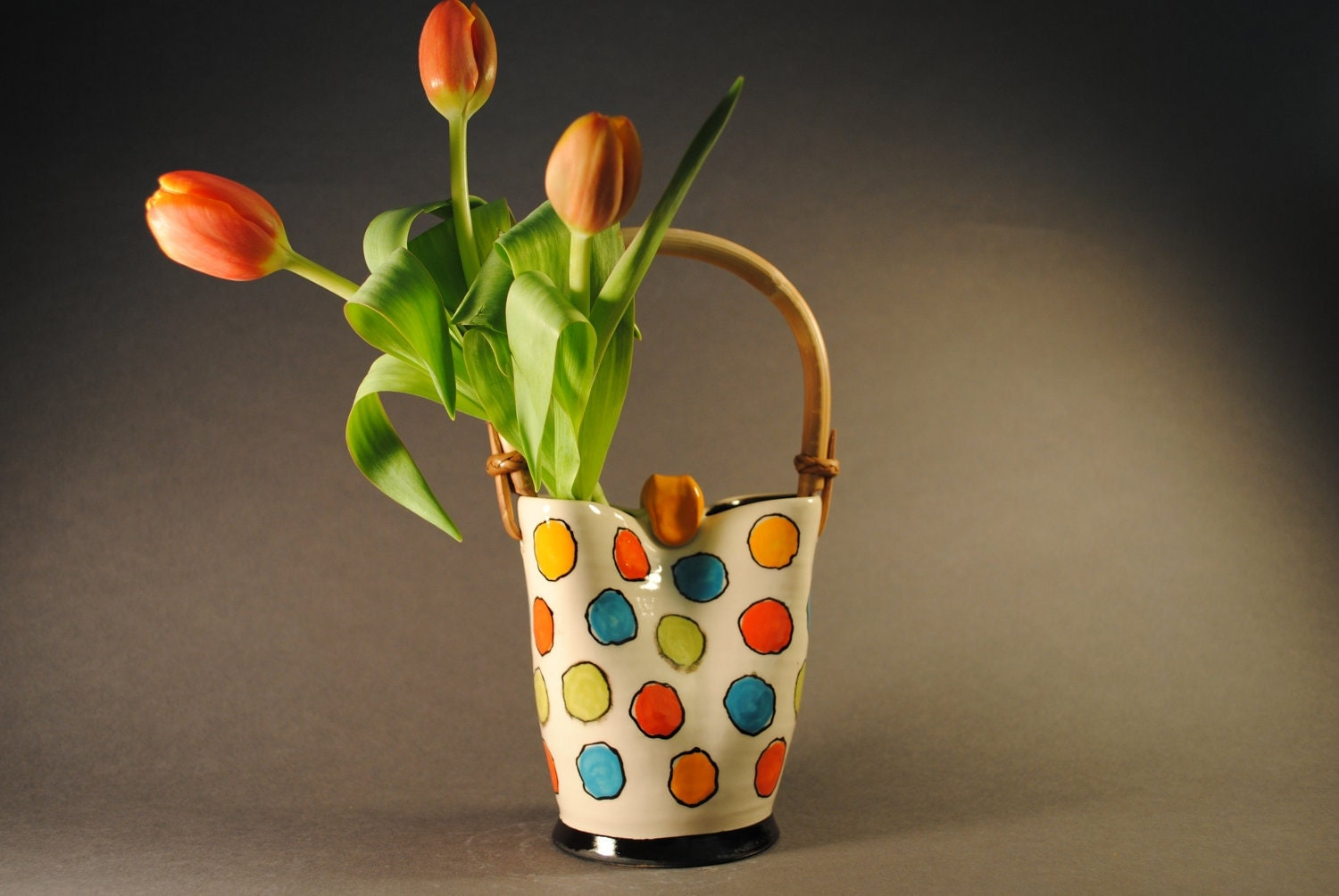 Purse Vase - Multi-color Dots