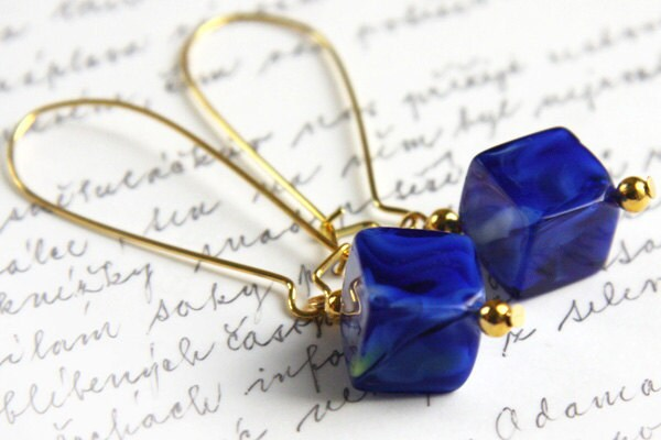 Cobalt Blue Lampwork Glass Cube Earrings. Modern Minimalist. Gold Plated Ear Wire. Long Dangle. TAGT TEAM