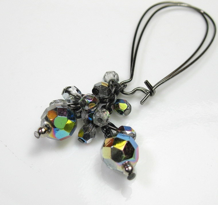 Earrings, Gun Metal, Jewelry, Czech Glass, Vitrail