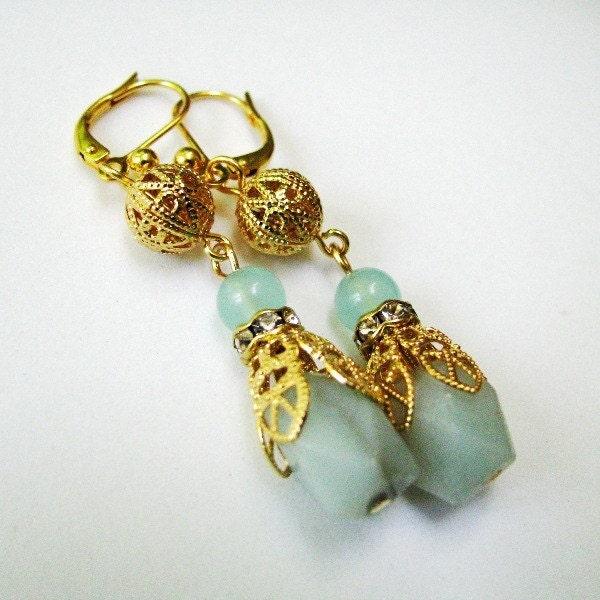 Athena - Vintage Style Amazonite Earrings in Seaglass Aqua