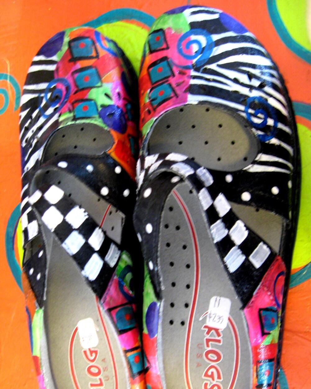 Hand painted Klog brand shoe Criss Cross mary Jane Size 11
