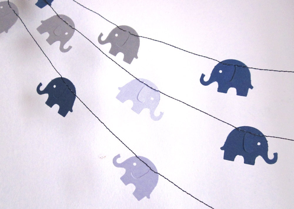 Paper Garland - Blue Elephants on Parade