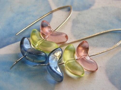 Honey Pie Earrings - pink, lemon yellow, baby blue glass stacked earrings, hand forged sterling silver earrings