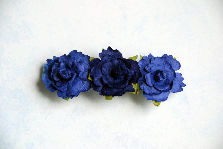 Blue Triple Mini-Rose French Barrette - TheKnottyNeedle