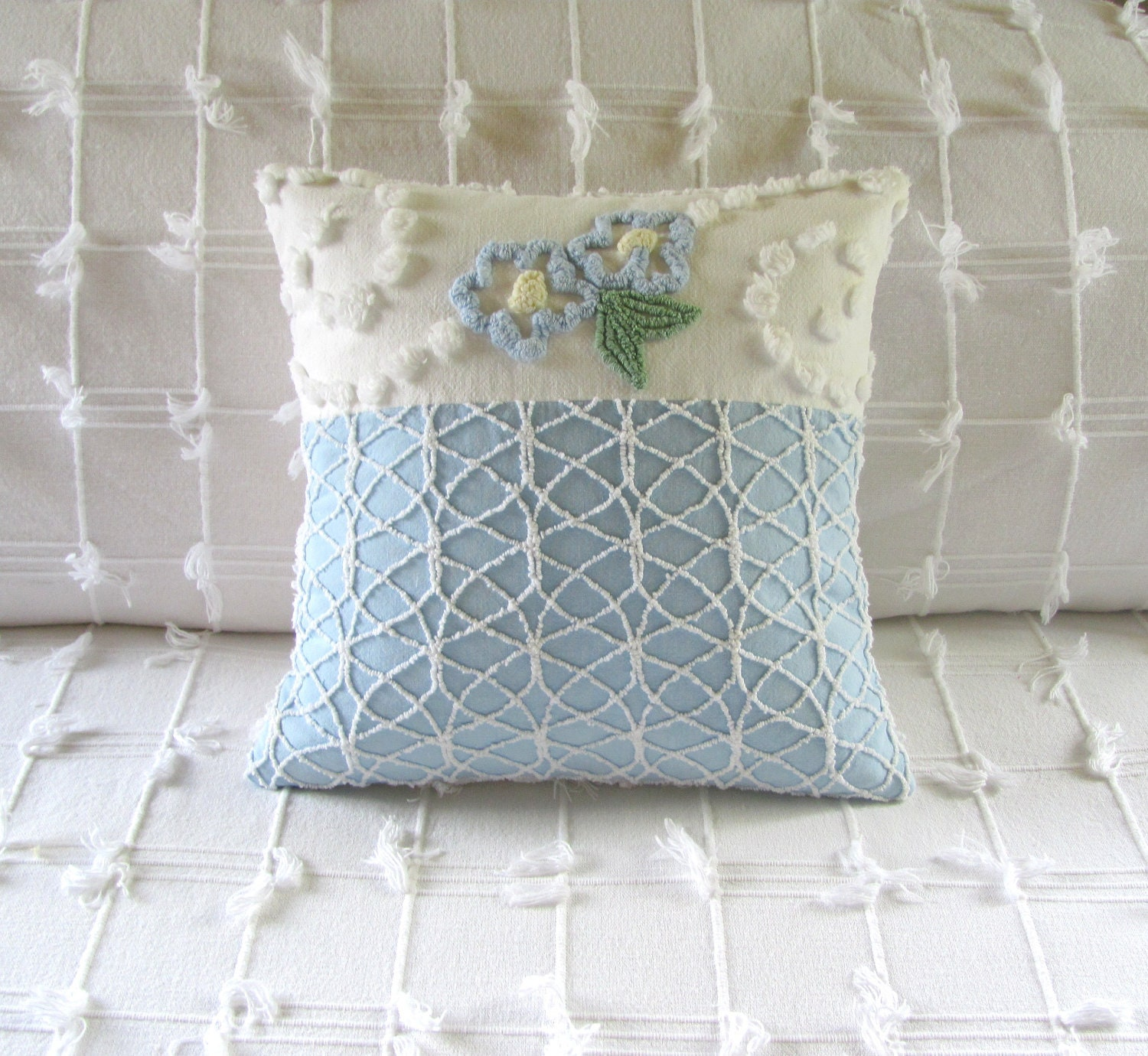FORGET ME NOT handmade vintage chenille pillow cover 14 X 14 floral cushion cover