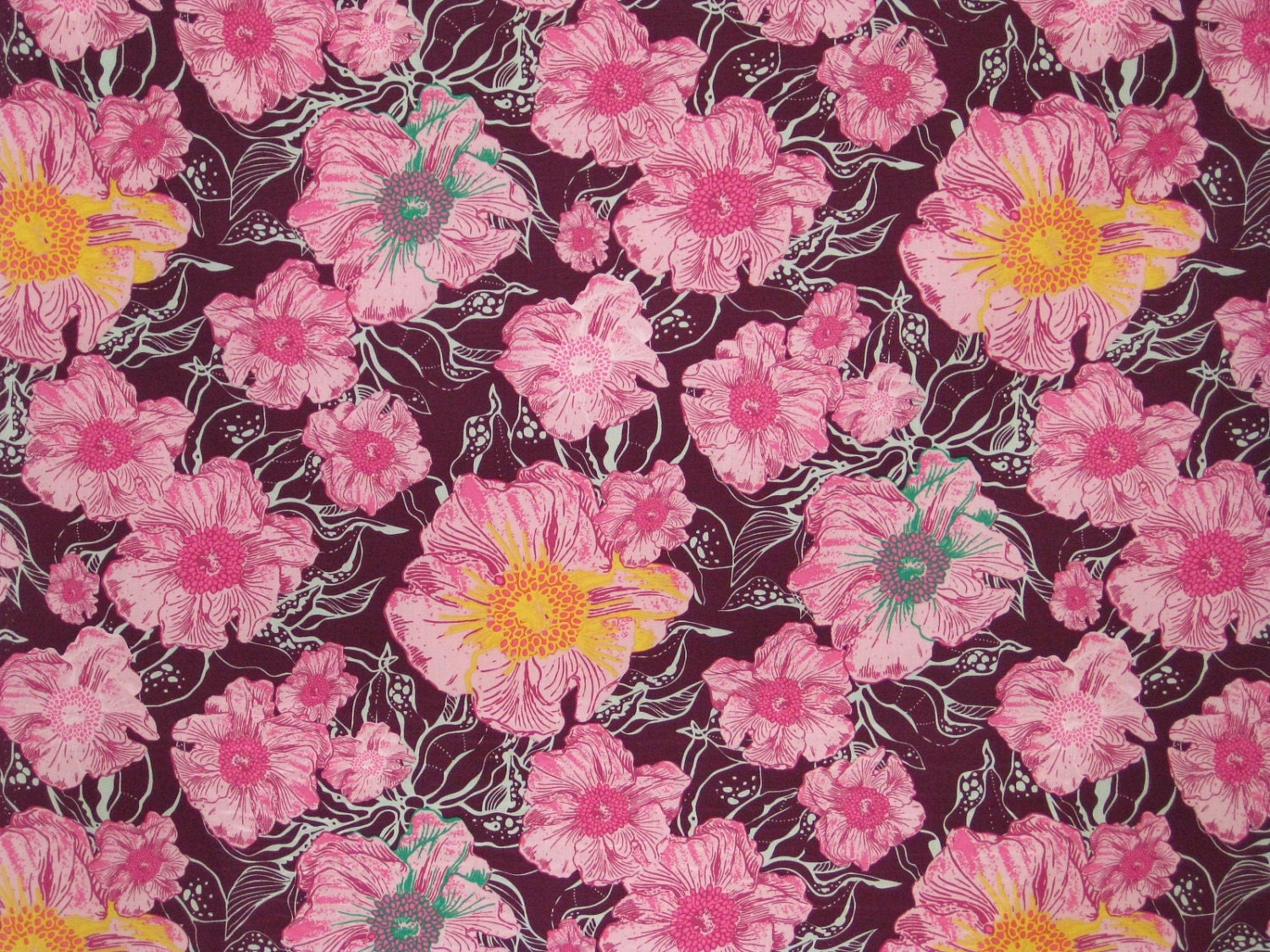 1 Yard of Lush Foliage Plum Cotton Fabric from the Pat Bravo Hyperreal Garden Collection for Art Gallery Fabric HG8401