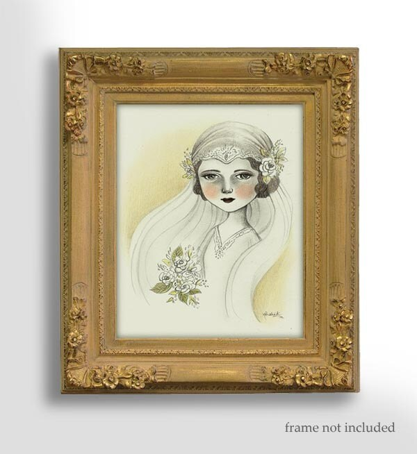 Pencil Drawing, Original Art, Wedding Gift, Wedding Illustration - The Bride by Amalia K - TheWishForest