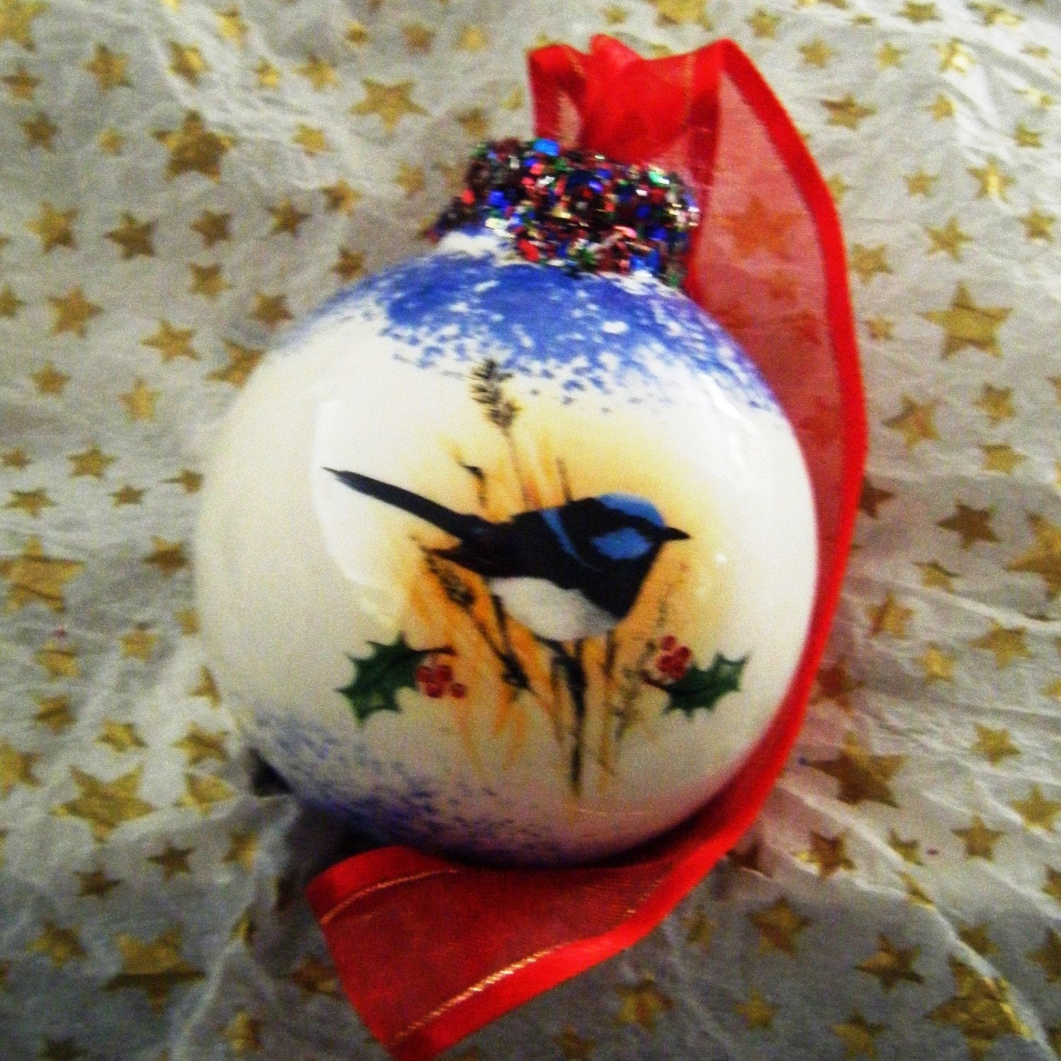 Personalized Christmas Australiana Bauble,Tree Decoration,Ball-- Blue Wren Desgin