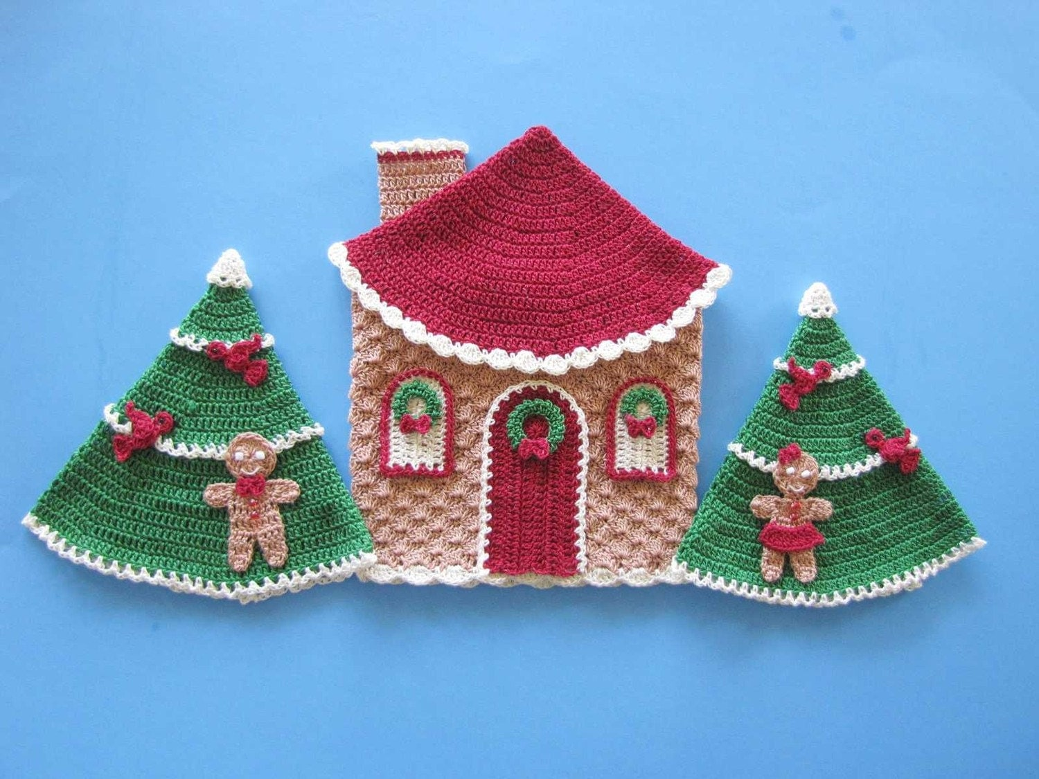 Christmas in Gingerbread Land Decorative Potholders or Wall Art PDF Pattern