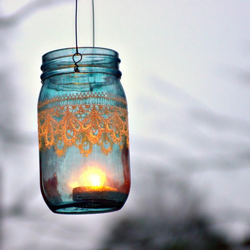 Hand Painted Mason Jar Moroccan Lantern -Ocean Blue Glass with Pearl White Embellishment - LITdecor