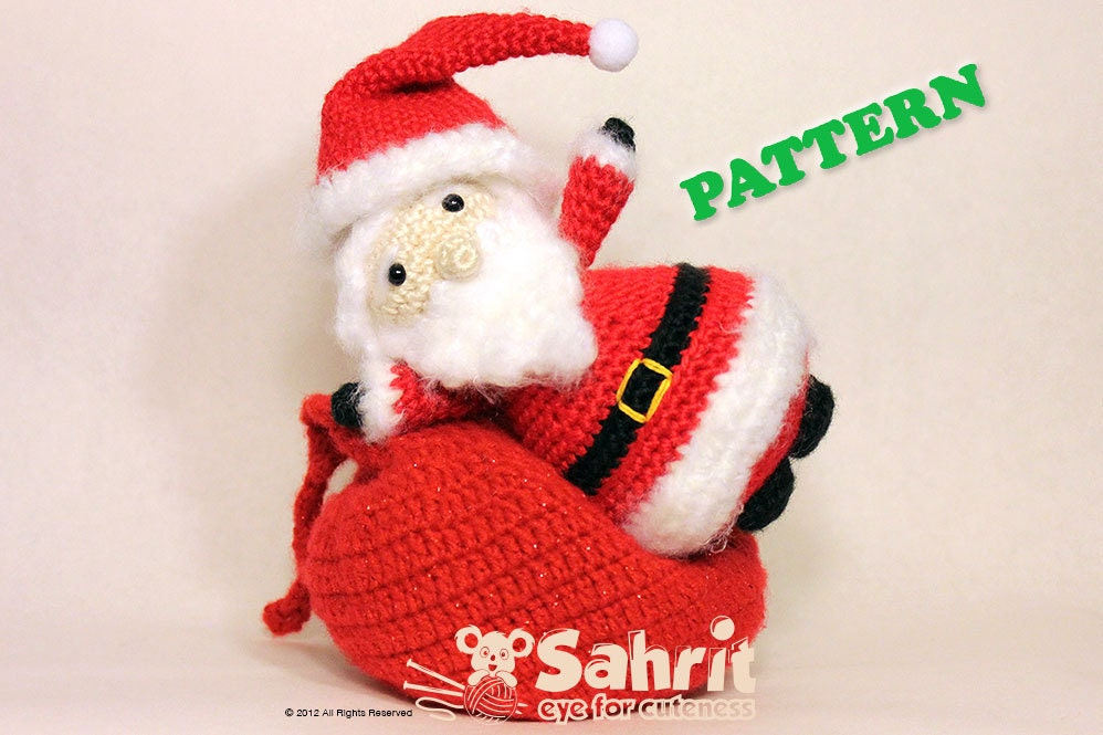PATTERN Santa Claus Amigurumi Doll Crochet Christmas Holiday With Present Sack
