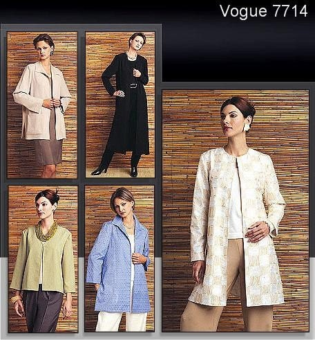 Vogue Jacket Pattern 7714 - Misses' Multiple Length Jacket - Vogue Basic Design  - SZ 20/22/24