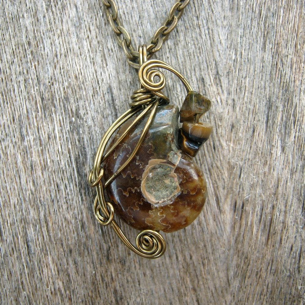 Wire Wrapped Pendant -  Ammonite Fossil Necklace in Antique Bronze Wire