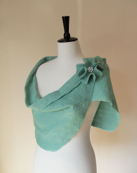 Shawl Wrap Stole Shrug Seafoam Green Felted Merino Wool Bridesmaid Bridal Wedding