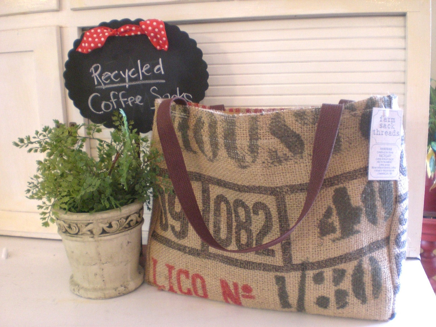 Burlap tote created from RECYCLED Coffee Bean sack