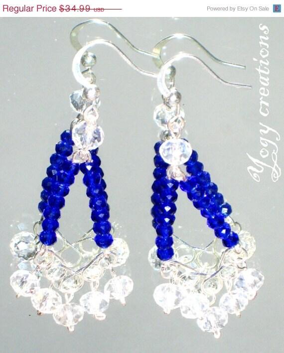 SALE 10% Off White blue crystal bead chandelier dangle vintage earrings silver jewelry gift