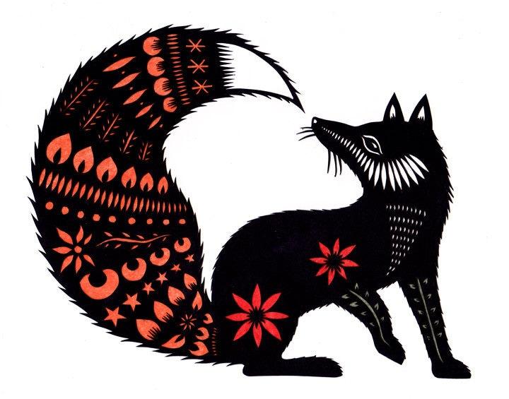 Fox Tale - Cut Paper Art Print