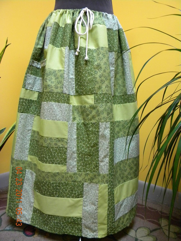 Crazy Green Patchwork Hippie Skirt
