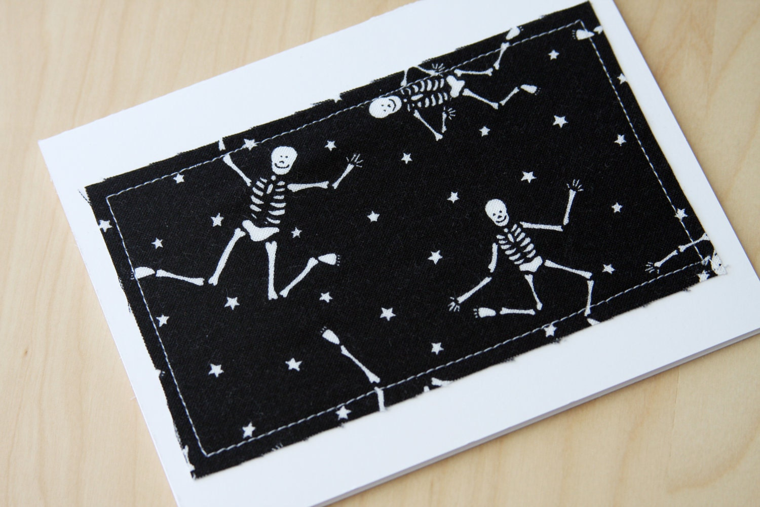 Note Cards - Dancing Skeletons Halloween Fabric - Set of 4 (Blank)