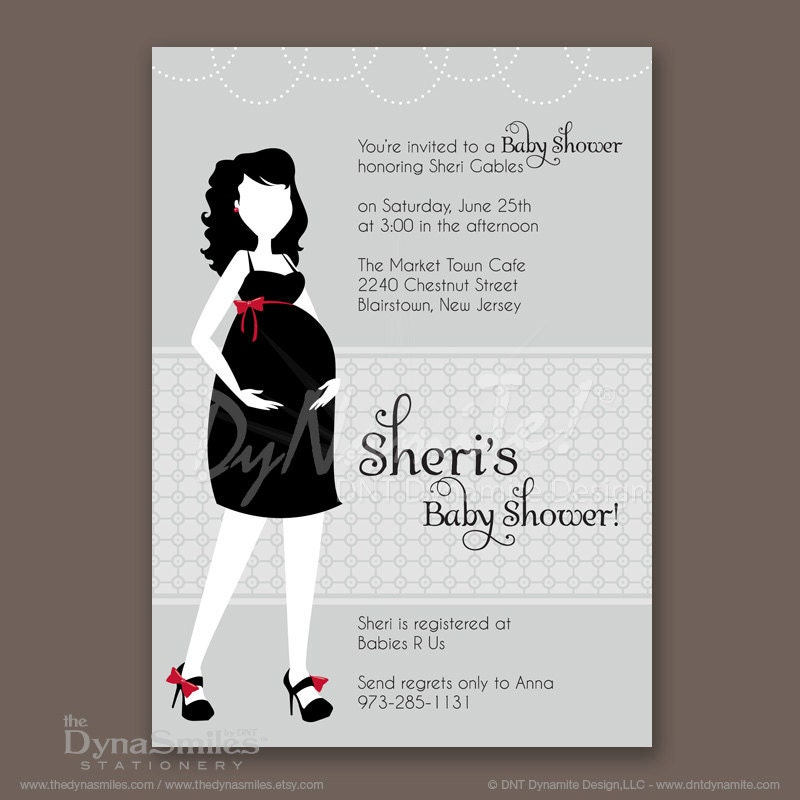 Pregnant Diva - Baby Shower Invitation - Silhouette - Long Wavy Hair Style