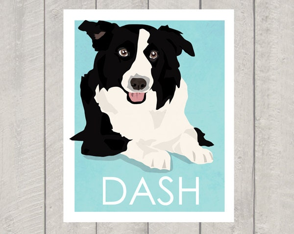 Border Collie Art Print - Custom Name Print - 8x10 - HappyTailPrints
