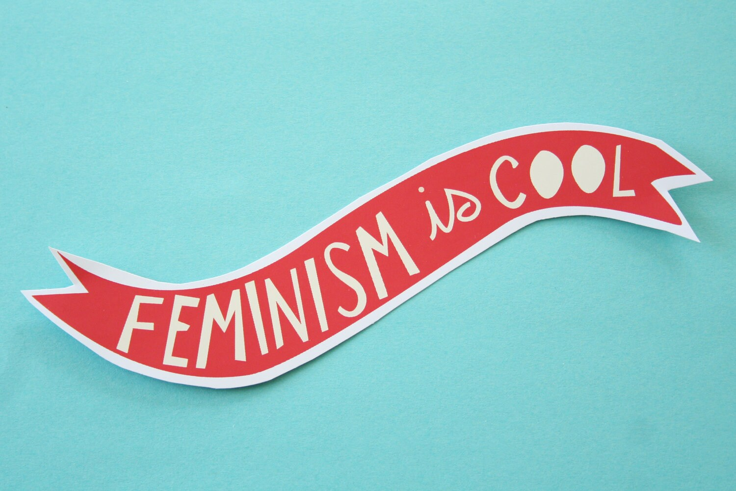 Feminism is Cool Red Banner Sticker