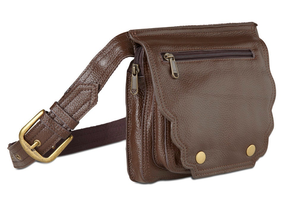 Recycled Leather Hip Bags in Dark Brown - HappyCowBags