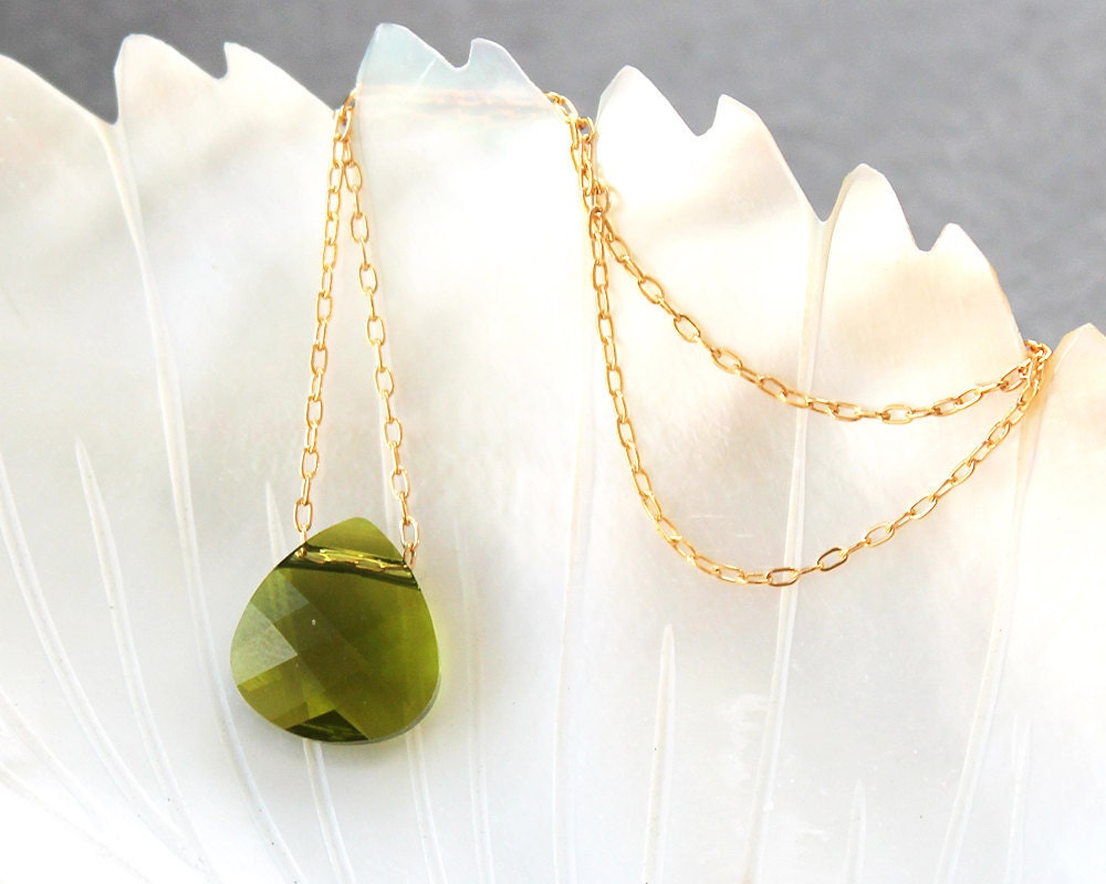 Olive Green Faceted Teardrop Gold-Filled Necklace - sweetolivejewelry