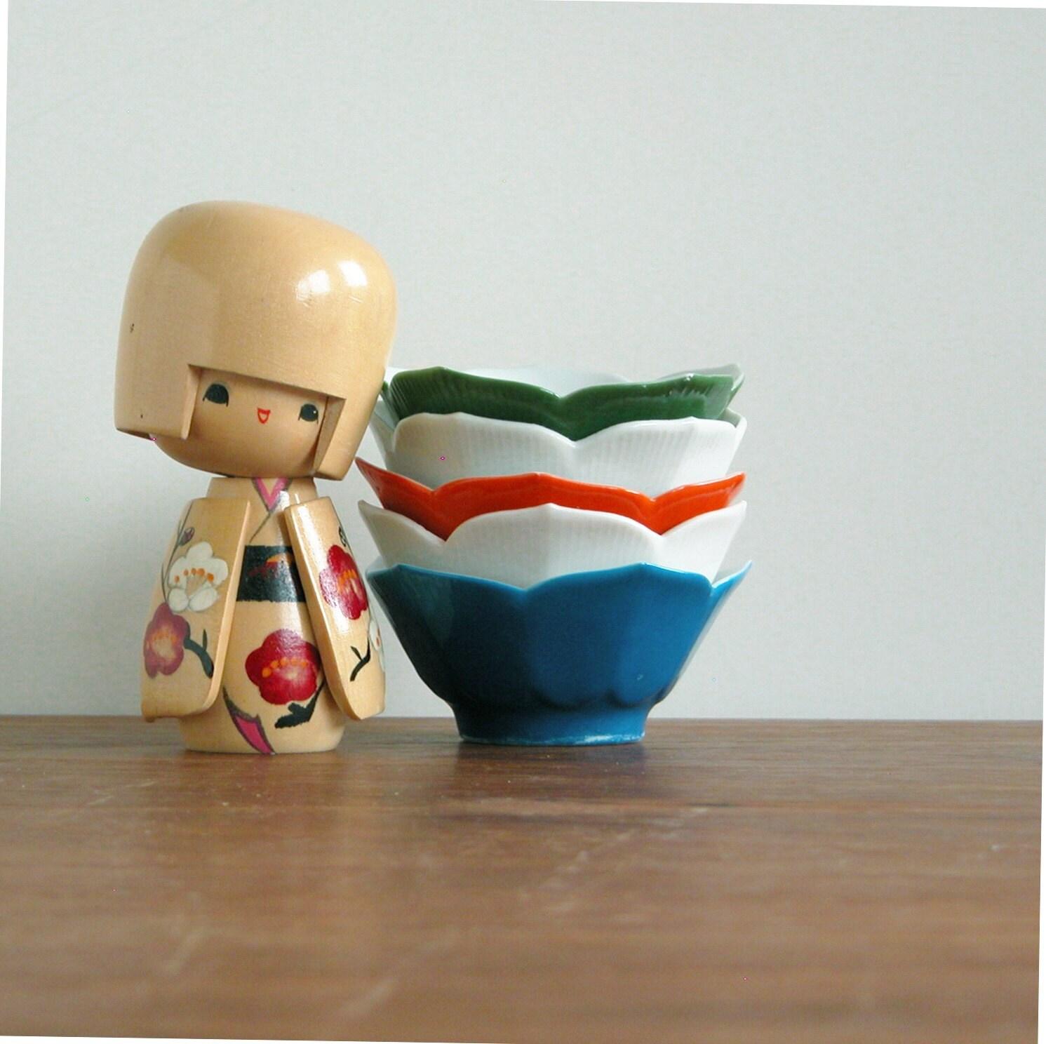 Five lotus bowls - vintage japan white blue orange green porcelene japanese set  finger soy sauce dip drink mid century modern asian pottery - MidCenturyProps