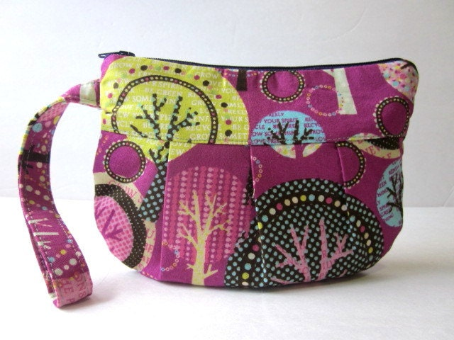 Handmade pleated wristlet Purple trees