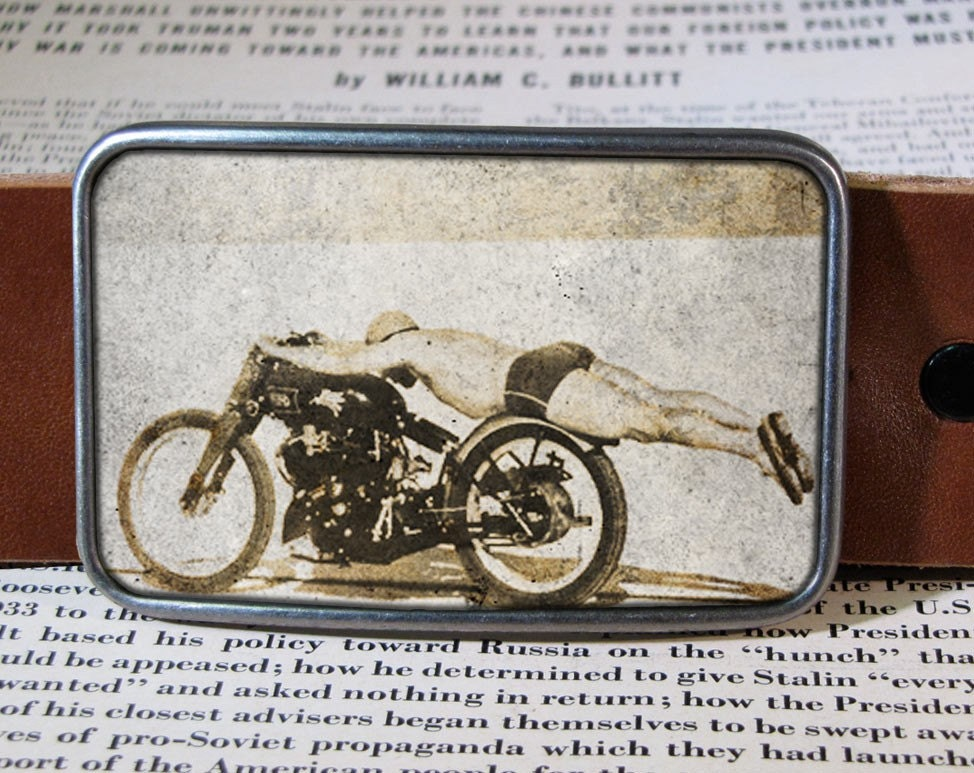 flying motorcycle belt buckle, vintage bike buckle 202 - reganflegan