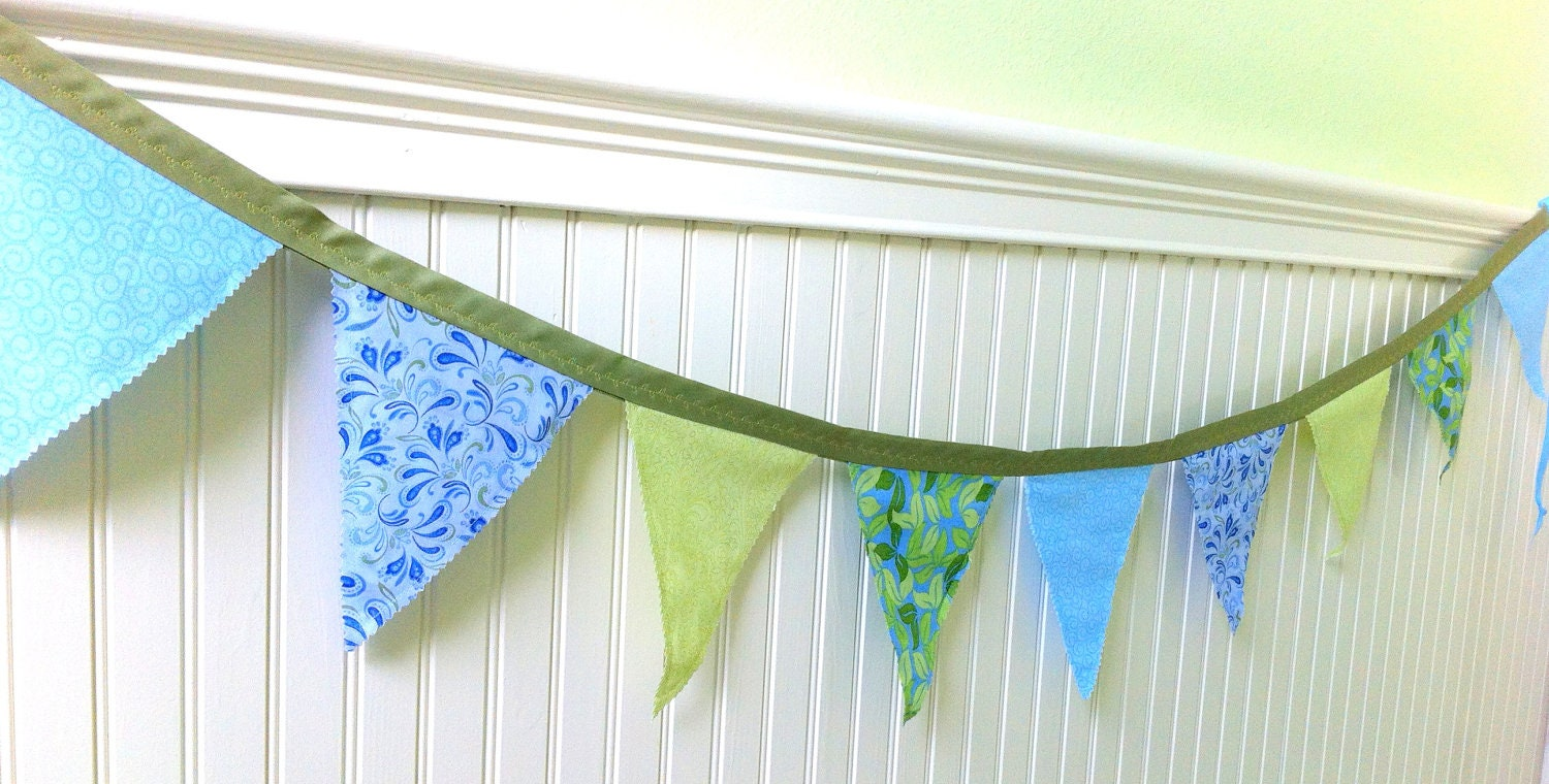 Fabric Garland, Floral Blue & Chartreuse Banner, Home Decor Two Sided Banner, Spring, Summer, 5.5 Ft. - LollysCubbyHole