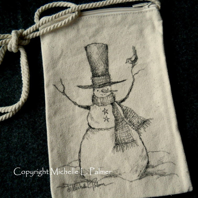 Snowman Winter Christmas Sparrow Bird Original Art Illustration on Natural Canvas Bag Tote Purse