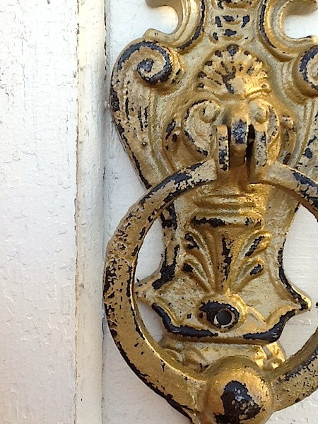 Shabby Chic Iron Wall Decor Door Knocker Chippy by CamillaCotton