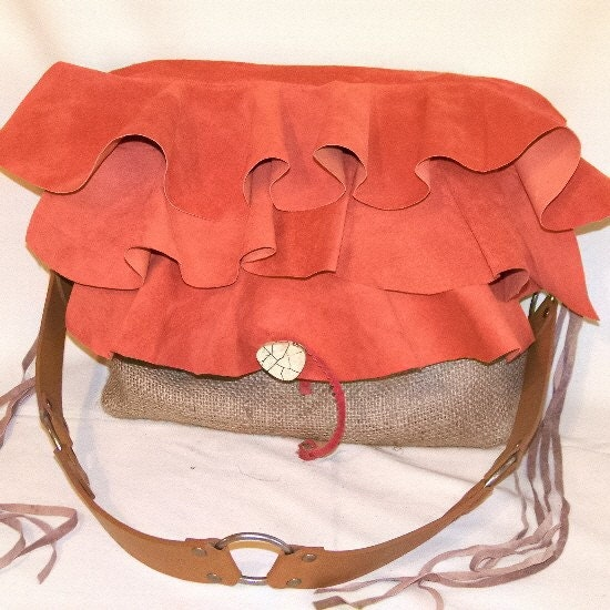 Triple Ruffle Orange Suede and Coffee Burlap Bag