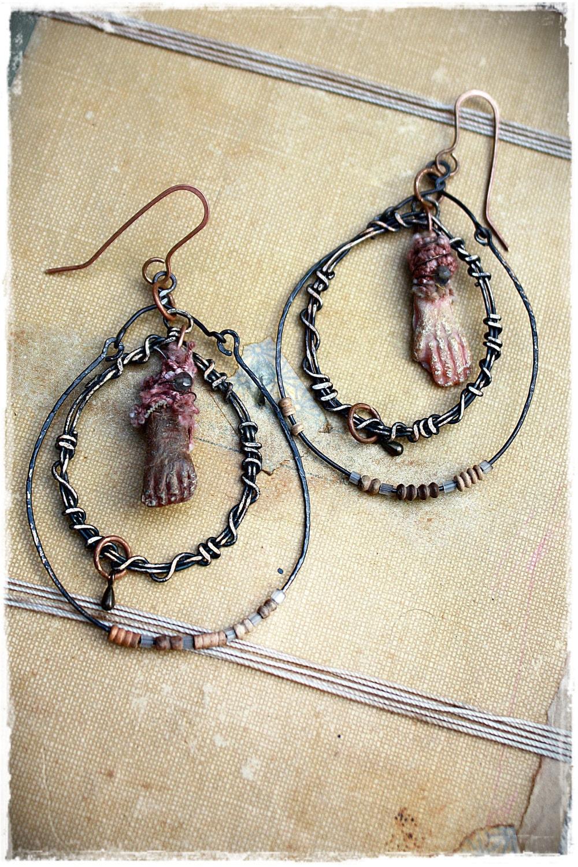Hand and Foot. Rustic tribal assemblage earrings - OOAK