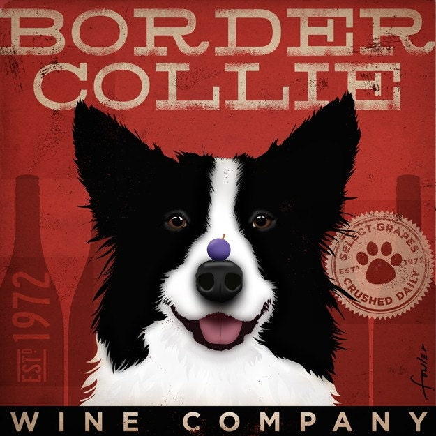 Border Collie Wine Company Company original illustration graphic artwork on 12 x 12 giclee print bar art - geministudio