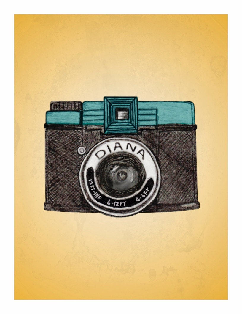 Dreamy Diana - vintage camera illustration - a favorite things print - Holiday Sale - Black Friday - Cyber Monday
