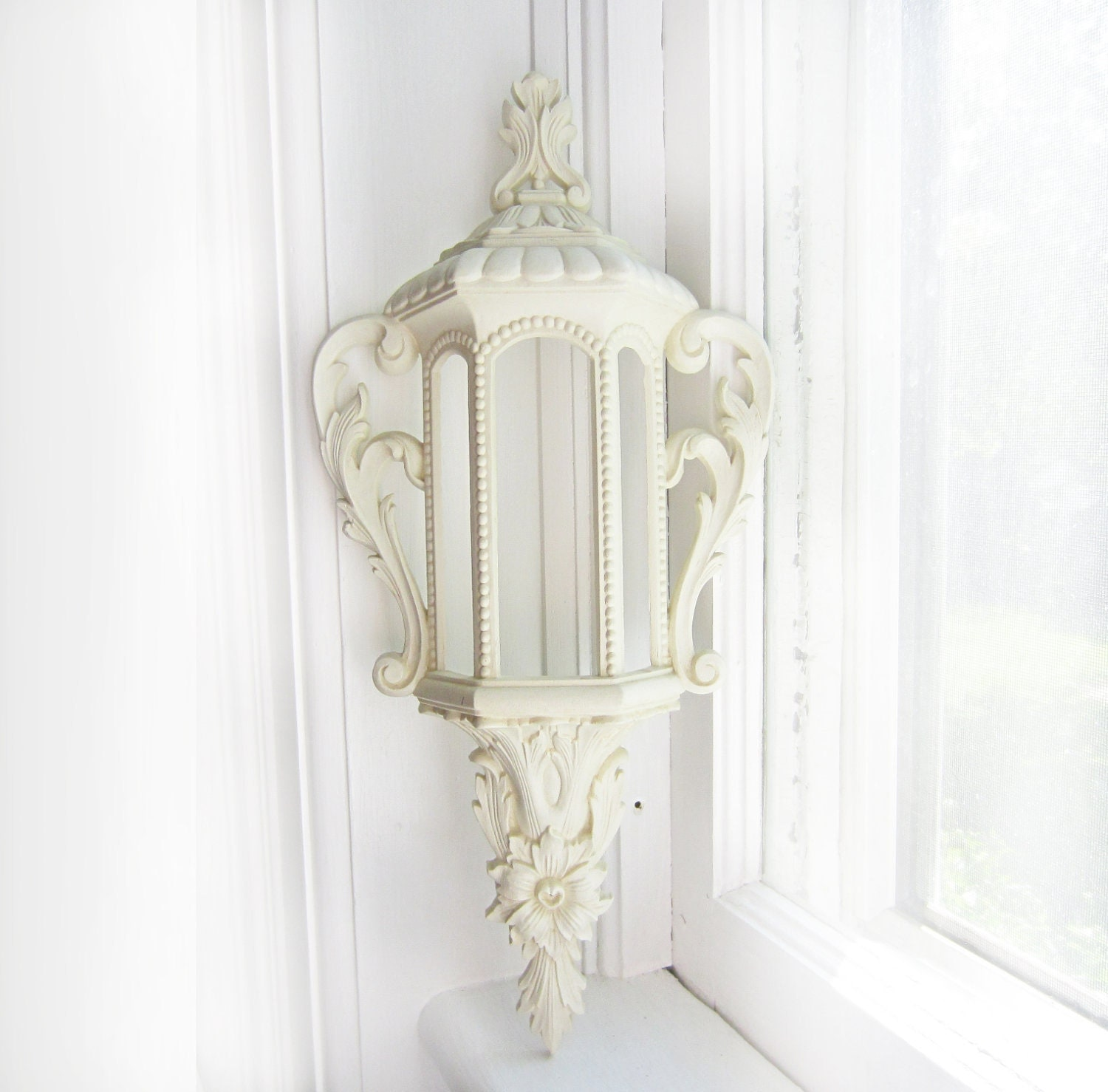 Vintage White Burwood Lantern Wall Hanging- 585-1 A - TheeLetterQ